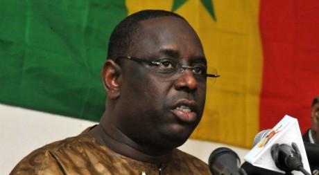 Conférence de presse de Macky Sall à Dakar le 4 février 2012. AFP/SEYLLOU