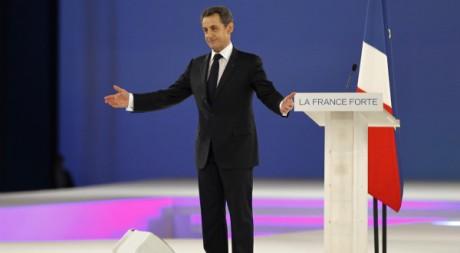 Nicolas Sarkozy en meeting à Villepinte le 11 mars 2012. REUTERS/Charles Platiau