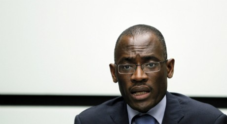 Toussaint Alain, ex porte-parole de Laurent Gbagbo durant une confrence de presse, Bruxelles, Avril 2011REUTERS/Francois Lenoir