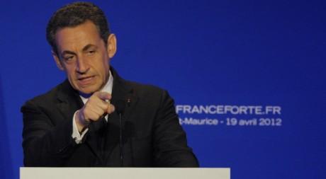 Nicolas Sarkozy le 14 avril 2012. REUTERS / Philippe Wojazer