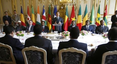 Nicolas Sarkozy et ses homologues d'Afrique de l'ouest et du centre, Elysée, 13 juillet 2010 AFP PHOTO/Rémy de la Mauvinière