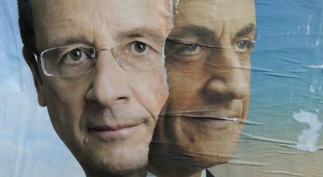 Affiche de campagne des candidats du second tour, François Hollande et Nicolas Sarkozy, Paris, avril 2012 Reuters/P. Wojazer