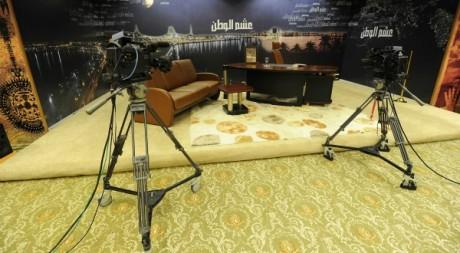Plateau de télévision à Tripoli le 22 août  2011. Reuters/Paul Hackett