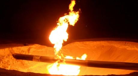 Attaque contre un pipeline le 5 février 2012 dans le Sinaï, non loin de la ville al-Arish. Reuters/Stringer