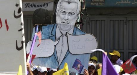 Un portrait du Premier ministre Benkirane lors de la manifestation de Casablanca, 27 mai 2012. REUTERS/Stringer