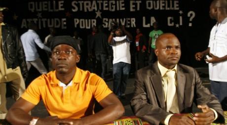 Blé Goudé et Konate Navigué, leaders de jeunesse ivoirienne pro-Gbagbo, Abidjan, 12 janvier 2010 REUTERS/Luc Gnago