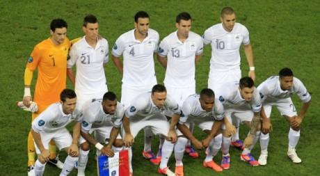 L'équipe de France avant les quarts de finale face à l'Espagne, Euro 2012. © REUTERS/Yves Herman