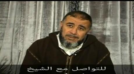 """Capture d'écran du cheikh marocain Abdellah Nahari. L'inscription en arabe:""""pour poursuivre avec le cheikh"""""""