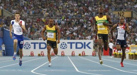Demi-finales du 100 mètres lors des championnats du monde de Daegu, Août 2011. © REUTERS/Michael Dalder