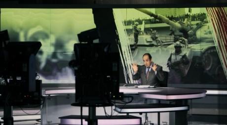 Plateau de la chaîne Al Jazeera à Doha le 7 février 2011. Reuters/Fadi Al-Assaad