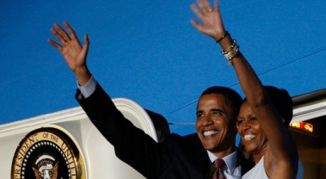 Barack Obama et Michelle Obama, le 11 juillet 2009 à Accra REUTERS/Jason Reed