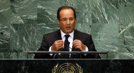 Franois Hollande au sige de l&#039;ONU  New York, 25 septembre 2012. 	REUTERS/Mike Segar