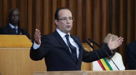 François Hollande lors de son discours de Dakar, le 12 octobre 2012. © REUTERS/Joe Penney