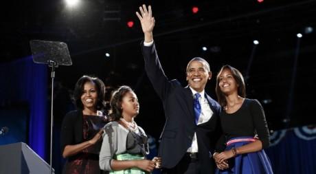 Barack Obama et sa famille à l'annonnce de sa réelection à la Maison Blanche, 7 novembre 2012©REUTERS/Jason Reed
