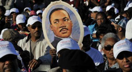 Effigie de Martin Luther King, lors d'un hommage, octobre 2011. © MLADEN ANTONOV / AFP