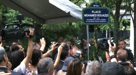 La place Mohamed Bouazizi à Paris. © ELODIE LE MAOU / AFP