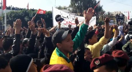 Des manifestants à Saidi Bouzid, le 17 décembre 2012. © Haythem Abidi, tous droits réservés.