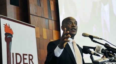 Mamadou Koulibaly, lors d'un meeting de son parti,août 2011. © SIA KAMBOU / AFP