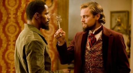 Django (Jamie Foxx) et Calvin J. Candie (Leonardo DiCaprio). cc Allo ciné