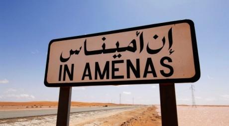 Panneau de la ville d'In Amenas au sud-est de l'Algérie. KJETIL ALSVIK / STATOIL / AFP