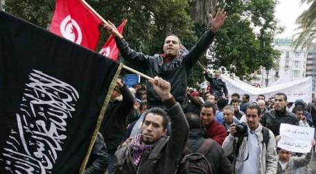 Manifestants pro-Ennahda, Tunis, décembre 2012. © KHALIL / AFP