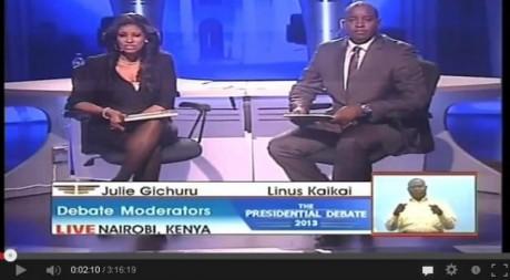 Capture d'écran du débat présidentiel sur le direct de la chaîne KTN en partenariat avec YouTube.