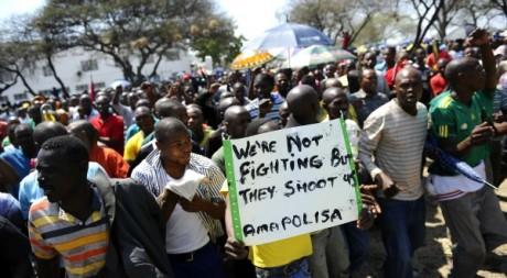 Grève de mineurs sud-africains, 5 octobre 2012. © AFP/Stephane de Sakutin