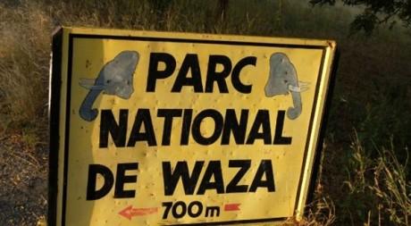 Une plaque indiquant l'entrée du parc de Waza (Nord-Cameroun), novembre 2008. © MARC PREEL / AFP