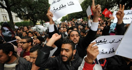 Manifestations anti-Ennhada, Tunis, 23 février 2013. © FETHI BELAID / AFP