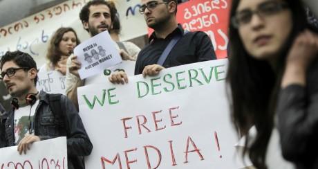 Journée mondiale de la liberté de la presse à Tbilisi, le 3 mai 2012. REUTERS/David Mdzinarishvili
