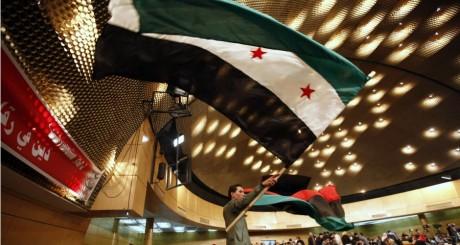 Drapeau de la révolution syrienne lors d'une manifestation à Tunis le 23 décembre 2012. REUTERS/Anis Mili