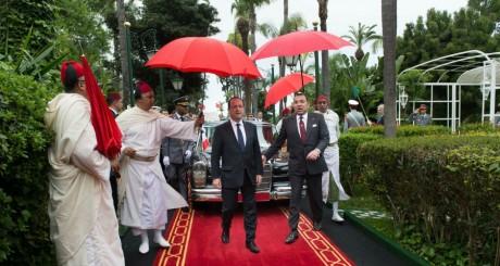 François Hollande et le roi Mohammed VI, Casablanca, 3 avril 2013 / AFP