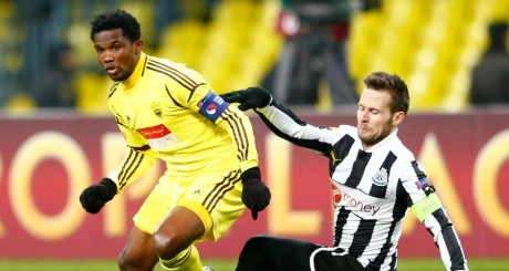 Samuel Eto'o lors d'une rencontre Anzhi vs. Newcastle United, mars 2013 / REUTERS