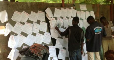 Affiche des listes de candidats dans une grande école © OuestAfrikaBlog
