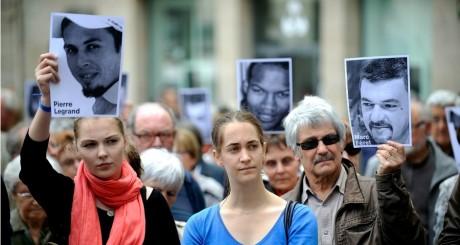 Manifestation des familles des otages, Nantes, le 1 juin 2013. JEAN-SEBASTIEN EVRARD / AFP