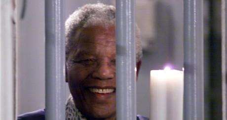 Photo symbolique de Nelson Mandela dans la prison de Robben Island, 31 décembre 1999. MH//ME