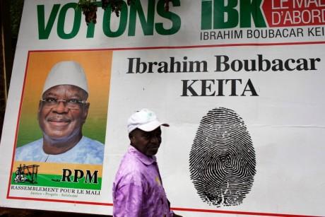 Affiche électorale d'Ibrahim Boubacar Keita, le 2 août 2013, à Bamako. REUTERS/Joe Penney