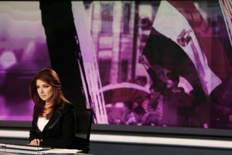 Plateau de la chaîne al-Jazeera, le 7 février 2011, Doha. REUTERS/ Fadi Al-Assaad