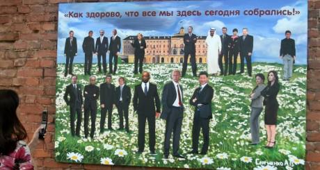 Peinture réalisée par l'artiste Alexei Sergienko en l'honneur du G20, Saint-Pétersbourg, 4 septembre 2013 / REUTERS