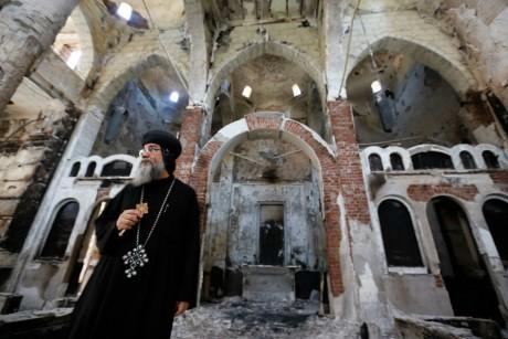 Eglise incendiée dans le gouvernorat de Minya, le 26 août 2013. REUTERS/Louafi Larbi