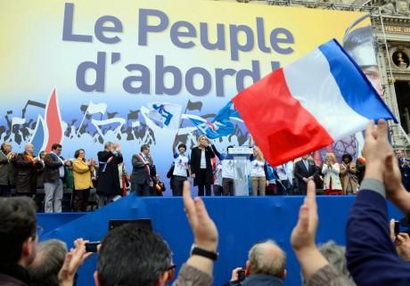 Discours de Marine Le Pen, 1er mai 2013, Paris. ERIC FEFERBERG / AFP