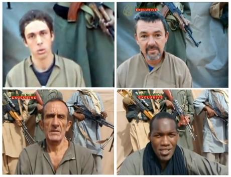 Pierre Legrand, Marc Feret, Daniel Larribe and Thierry Dole, les quatres employés d'Areva enlevé à Arlit, le 16 septembre 2010.