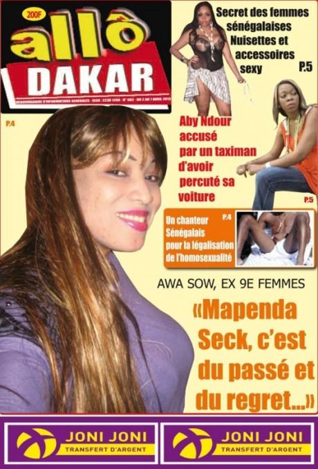 voici la une de votre journal 39 39 allo dakar slate afrique. Black Bedroom Furniture Sets. Home Design Ideas