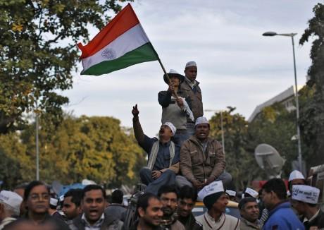 Des partisans du parti Aam Aadmià New Delhi. REUTERS/Ahmad Masood