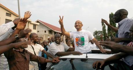 Michel Gbagbo arrivant à une réunion du FPI, août 2013. REUTERS/Luc Gnago
