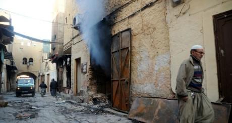 Une rue de Ghardaia après les affrontements de ce week-end / AFP