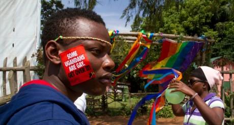 Un manifestant lors de la Uganda Pride
