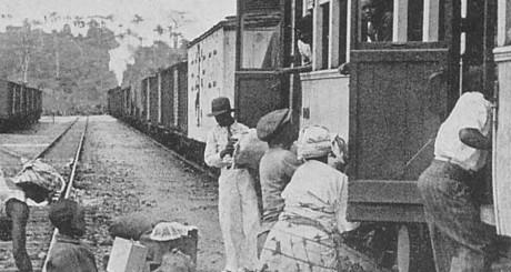 Le chemin de fer de Kinshasa, dans les années 1930. Shigemitsu Fukao via Wikimedia Commons.
