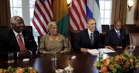 Obama en compagnie des chefs d'Etats des pays touchés par Ebola. REUTERS/Gary Cameron