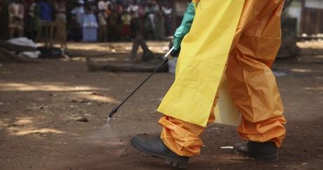 Un membre de la Croix-Rouge désinfecte une zone contaminée, le 30 janvier 2015 en Guinée. REUTERS/Misha Hussain